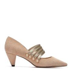BENATIVE/本那2018春夏新品 时尚锥形跟反绒羊皮玛丽珍单鞋 黑色/军绿色/裸色松紧带尖头女士高跟鞋图片