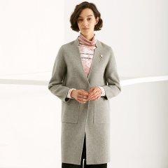 TATU/她图双面羊绒大衣女中长款 韩版宽松显瘦毛呢呢子外套潮女士大衣图片