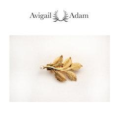 Avigail Adam美国纽约手工制造艺术风格首饰品牌女式Five系列五叶藤珍珠弹簧夹Five Stem Barrette图片