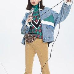 【DesignerWomenswear】UOOYAA/乌丫18秋冬新款专柜正品复古撞色拼接时髦绑带设计牛仔外套女士夹克图片