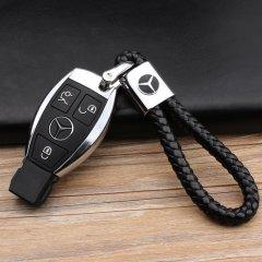 pinganzhe 奔驰专用汽车新款带车标钥匙扣 手编织真牛皮钥匙链 钥匙圈锁匙环 男士女士 创意 汽车用品图片
