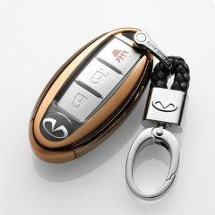 【奢品节可用券】pinganzhe 英菲尼迪/日产 专用软胶全包钥匙包 钥匙壳 钥匙套 送钥匙扣两个深海蓝 英菲尼迪图片