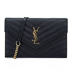 Yves saint Laurent/圣罗兰 女士黑色牛皮经典logo链条手拿单肩包 393953 BOW01 1000图片