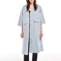 【DesignerWomenwear】LER/子时2017秋季新品七分袖宽松休闲中长款外套女士风衣图片