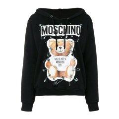 MOSCHINO/莫斯奇诺 秋冬新款 女装 服饰 棉质别针泰迪熊套头连帽长袖时尚休闲 女卫衣图片