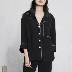 MO&Co./摩安珂女士短袖衬衫18年春季新品翻驳领滚边开衩七分袖上衣图片