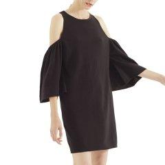 Zynni Cashmere/臻尼羊绒女士针织衫/毛衣黑色露肩短袖羊绒衫 SB8052图片