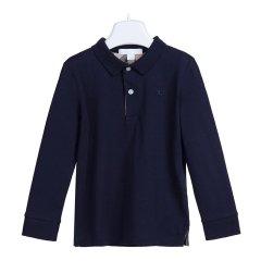 【18秋冬】BURBERRY/博柏利  男童深海军蓝色棉质长袖POLO衫 4018351 4021484图片