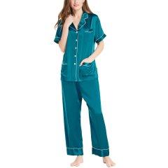 【DesignerWomenwear】LILYSILK/莉莉秀客女睡衣/家居服真丝睡衣女夏两件套分体式桑蚕丝套装短袖长裤丝绸家居服图片