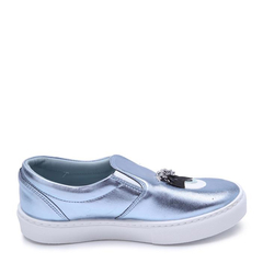 CHIARA FERRAGNI/CHIARA FERRAGNI银色布质涂层大眼睛长睫毛装饰女士松糕鞋低/中跟鞋,CF1272 SILVER woman shoes 37图片