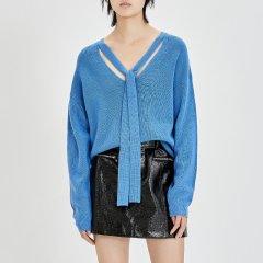 MO&Co./摩安珂女士针织衫/毛衣MOCO2018秋季新品纯色V领绑带纯羊毛毛衣MA183SWT316图片