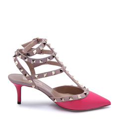 Valentino/华伦天奴ROCKSTUD系列牛皮材质拼色设计铆钉装饰女士高跟鞋凉鞋图片
