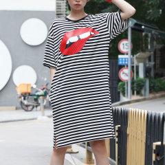 黑白 连衣裙/ANNAKIKI/ANNAKIKI 连衣裙经典基础系列黑白条纹连衣裙红唇...