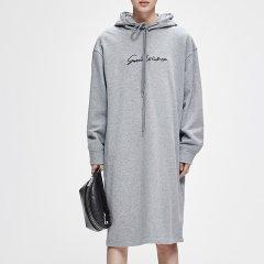 MO&Co./摩安珂女士连衣裙MOCO2018秋季新品连帽抽绳宽松刺绣卫衣裙MT183DRS204图片