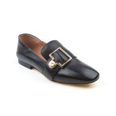 Ozwear ugg/Ozwear ugg  女士乐福鞋 春夏新款 小羊皮金属方扣一脚蹬乐福鞋图片