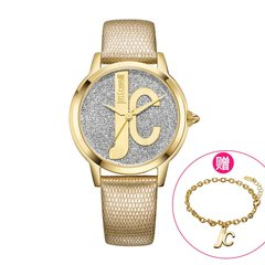 JUST CAVALLI/JUST CAVALLI 欧美潮流皮带时尚防水石英个性LOGO创意手表女 JC手表 赠送手链图片