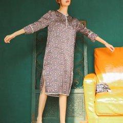 nacasa/nacasa 女睡衣/家居服 桑蚕丝印花套装七分袖睡裙女士家居服原创设计包邮图片