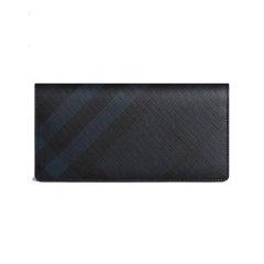 BURBERRY/博柏利 男士巧克力色/黑色PVC烟熏格纹长款对折钱夹钱包 3996180,3996181图片