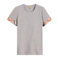 【包税】Burberry 博柏利 【18新品】女装棉弹力袖口格纹圆领短袖T恤上衣图片