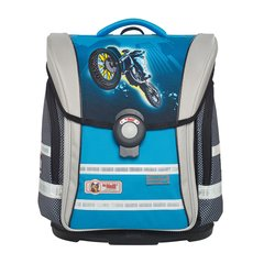 McNeill/McNeill德国进口儿童小学生书包减负护脊轻便双肩背包四件套4-6年级蓝色摩托图片