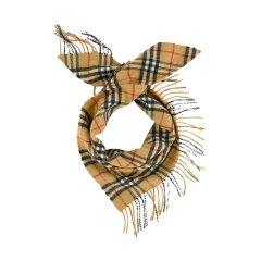BURBERRY/博柏利 男女童同款 古典黄色山羊绒迷你格纹班丹纳围巾 4077527图片