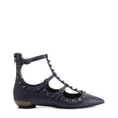 BLOCCO 5/BLOCCO 5进口牛皮革面铆钉装饰尖头时尚女士平跟鞋图片