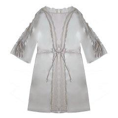 【Designer Womenwear】AURORAALBA/AuroraAlba女睡衣/家居服粉紫色/暖灰色开叉蕾丝袖系带丝缎睡袍(下单后预计4-6天发货)图片