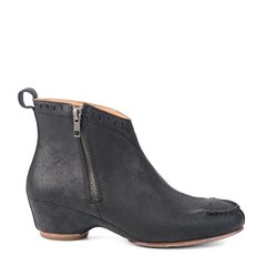 LANDAX/LANDAX 反绒牛皮 坡跟 皮靴 拉链 复古  女士 短靴图片