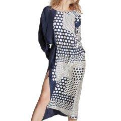 SANGLUO/桑罗  度假风波点撞色不对称长袖收腰抽绳真丝连衣裙开叉外穿睡裙  女睡衣/家居服图片
