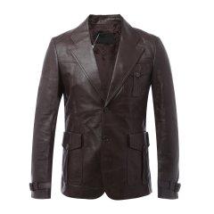 PRADA/普拉达 男士皮衣 羊皮深棕色男士皮衣图片