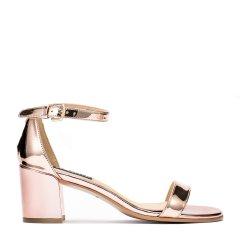 BENATIVE/本那2019年夏季新款时尚通勤出街吸睛镜面尖头方跟一字带女士单鞋乐福鞋女鞋图片