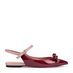 RED VALENTINO/RED VALENTINO漆皮材质蝴蝶结装饰尖头设计女士平底凉鞋图片