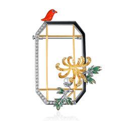 SUMMER PALACE/颐和园皇家珠宝 胸针项链毛衣链 年会聚会派对PARTY明星大衣毛衣礼服搭配  冬雪挂竹图片