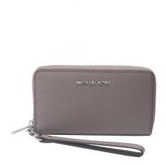 Michael Kors/迈克·科尔斯 MK女士Saffiano皮革泥灰色短款拉链钱夹 钱包32H4STVE9L图片