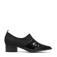 BENATIVE/本那2018春夏新品 时尚皮质拼接深口单鞋 尖头女士中跟鞋图片