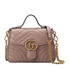 GUCCI/古驰 19春夏 GG Marmont系列 女士牛皮GG标识装饰绗缝链条包单肩斜挎包手提包图片