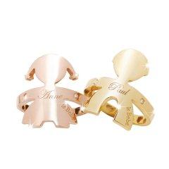 leBebé/leBebé 意大利爱的情感珠宝K金相拥经典男女孩镶钻戒指 玫瑰金拥抱女孩 13号图片