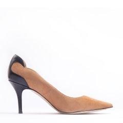 73hours/73hours Midge 女士麂皮拼接羊皮高跟鞋日常外穿浅口鞋图片