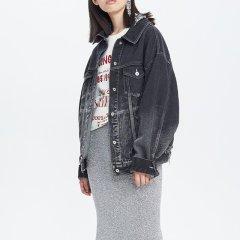 【DesignerWomenswear】UOOYAA/乌丫18秋冬新款专柜正品时髦下摆拼接黑灰渐变洗水休闲牛仔外套女士夹克图片