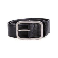 PRADA/普拉达 男士黑色牛皮针扣式休闲腰带 清仓J  2CS013 2FAD F0002 90图片