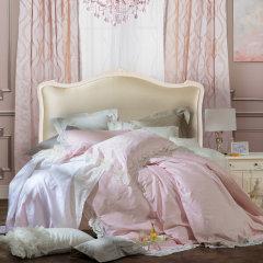 YOLANNA/意•欧恋纳 高端床品宽幅蕾丝全棉四件套粉色图片