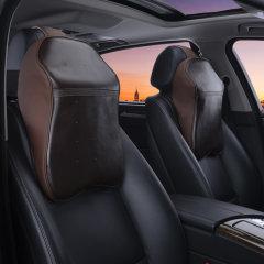 natu 2018年新款汽车牛皮头枕 汽车牛皮太空记忆棉头枕 汽车头枕 一对装咖米色图片