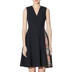 【DesignerWomenwear】TALY&TIAN/TALY&TIANV领后中隐形拉链左侧拼接印花面料修身女士连衣裙图片