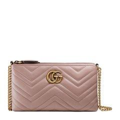 GUCCI/古驰 GGMarmont系列 女士牛皮绗缝迷你链条手拿包钱包图片