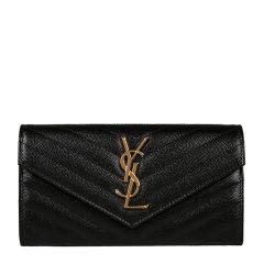 【17春夏新品】Yves saint Laurent/圣罗兰 Monogram 细粒纹理提花凸纹牛皮女士长款钱包 372264BOW01图片