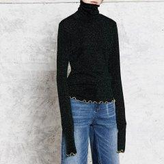 MO&Co./摩安珂女士针织衫/毛衣MOCO2017秋季新品个性木耳边装饰高领长袖针织衫MA173TOP204图片