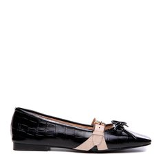 BENATIVE/本那2018春夏新款 帅气石头纹牛皮拼色方头女士平底单鞋 蝴蝶结平跟鞋图片