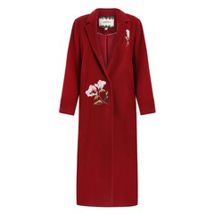 GEGINA/GEGINA 秋冬 刺绣羊毛中长款毛呢外套女士大衣  2色图片