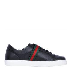 【包邮包税】GUCCI 古驰 男士黑色织布条纹扣休闲鞋运动鞋男鞋图片