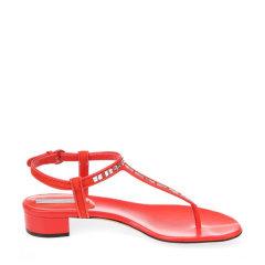 CESARE CASADEI/CESARE CASADEI西萨尔·卡萨帝麂皮镶钻装饰女士低/中跟鞋夹脚凉鞋图片